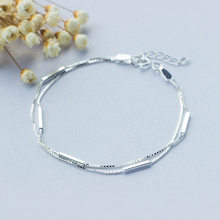 Fashion 100% 925 Sterling Silver Small Geometric Rectangle Bar Shape Double Layer Chain Statement Charm Hand Bracelets for Women(China)