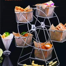 Cupcake-Holder Pastry Restaurant-Accessories Food-Rack Rotatable Stainless-Steel Vintage