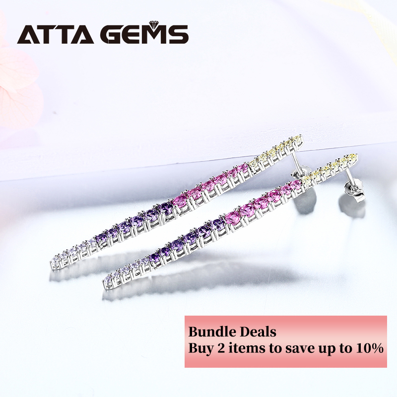 Colorful Zircon Silver Earring for Women Fine Jewelry Multi-color Earring Design Fashion Charming Earring Jewelry S925 Gifts