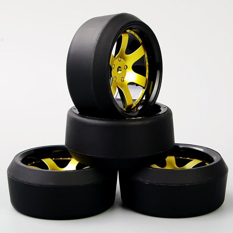 4pcs 1/10 Drift Tyre D6NKG + PP0370 Tires Wheel Hub Set Model For HSP HPI RC On road Racing Car