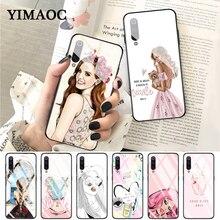 YIMAOC Fashion girl pink Glass Case for Xiaomi Redmi 4X 6A note 5 6 7 Pro Mi 8 9 Lite A1 A2 F1