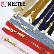 Meetee 1pc/2pcs 85cm Colorful 5# Metal Zipper Gold Teeth Open-End Auto Lock Decoration Zip DIY Bags Costume Sewing Material