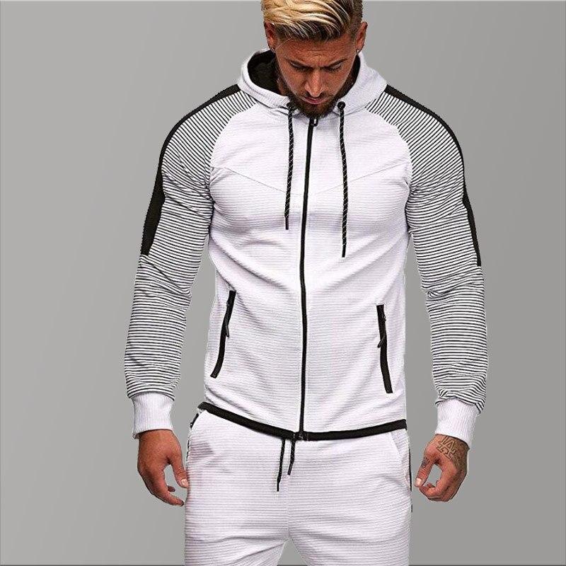 Oversized Hoodies Men 2019 Slim Fit White Hoodie Men Hoody Long Sleeves Autumn Sweatshirts Men Zipper Patchwork Fold Sweatshirt