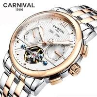 Carnaval multifuncional relógios mecânicos dos homens marca superior relógio masculino tourbillon luxo à prova dwaterproof água esporte masculino calendário anual