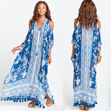 Sexy Lace Up Cold Shoulder Long Beach Dress Women Plus Size Swimwear Cover Up Batwing Sleeve Side Split Blue Print Maxi Pareos blue cold shoulder lace up chest pleated t shirts