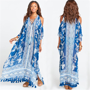 Sexy Lace Up Cold Shoulder Long Beach Dress Women Plus Size Swimwear Cover Up Batwing Sleeve Side Split Blue Print Maxi Pareos lace applique lantern sleeve cold shoulder top