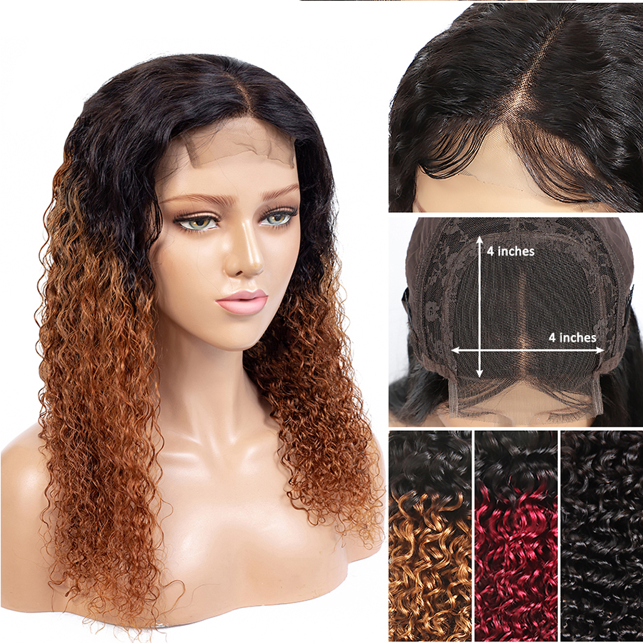 Fashion Lady Pre-Colored Lace Closure Wigs Ombre Curly Human Hair Wigs For Black Women 4x4 Inch Closure Hair Wigs