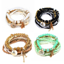 Multilayer Beads Bangle Multiple Colors New Crystal Women Fashion Tassels Bracelet Bohemian Style Jewelry