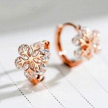 Charm Female White Round Crystal Earrings Cute Gold Silver Clip Earrings For Women Elegant Bridal Snowflase Wedding Earrings pair of elegant faux gem clip earrings for women