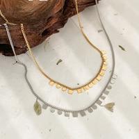 Monlansher Geometrischen Kleinen Platz Runde Scheiben Halskette Layered Titan Stahl Kette Halsketten Französisch Vintage Halsketten Schmuck