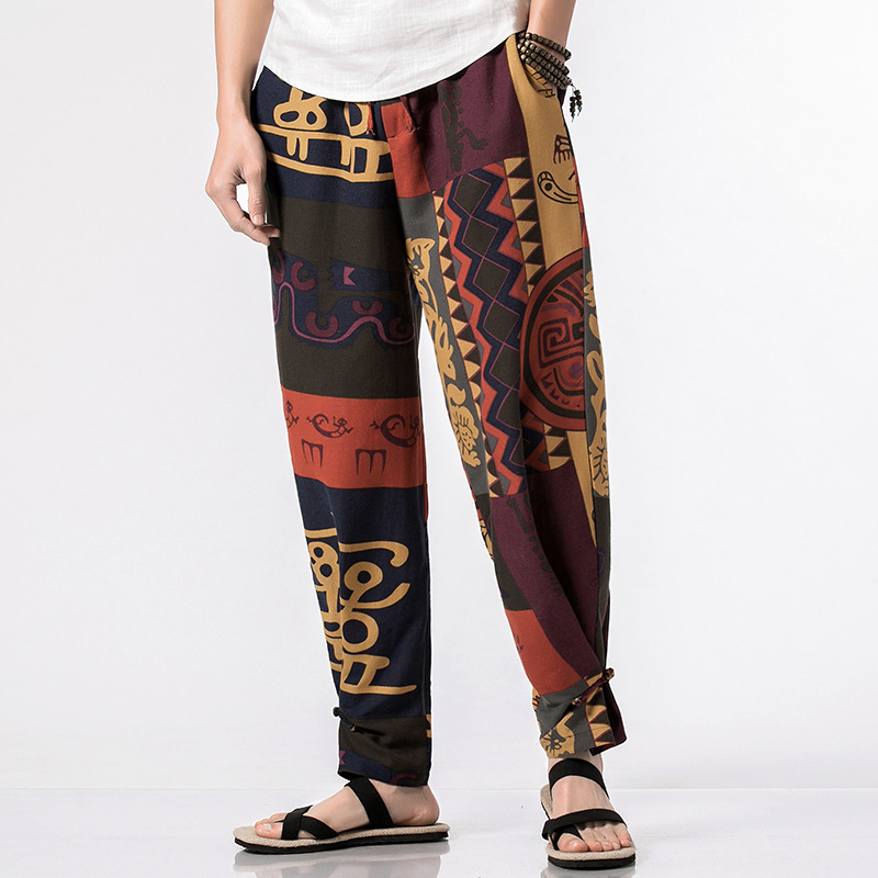 2018 Spring Men Decorative Pattern Frog Ankle Banded Pants Chinese-style Casual Trousers Large Size Men'S Wear