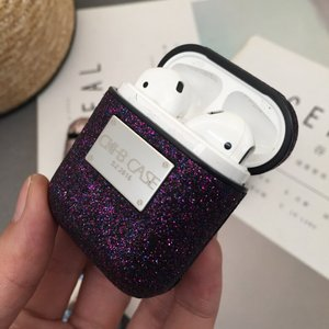 Image 4 - 10 unids/lote Bling Shiny Sequin funda para Airpods 1 2 funda Noble Glitter Girl Bluetooth Wireless auricular funda protectora CKHB 10P