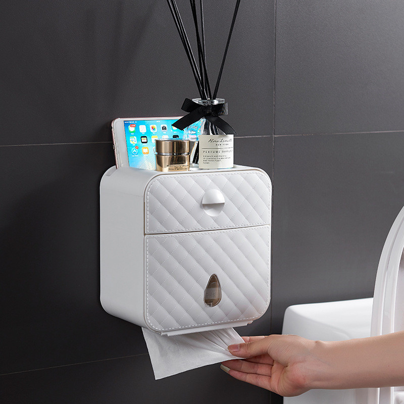 Waterproof Wall Mount Toilet Paper Holder Shelf For Toilet Paper Tray Roll Paper Towel Holder Case Tube Storage Box Tray