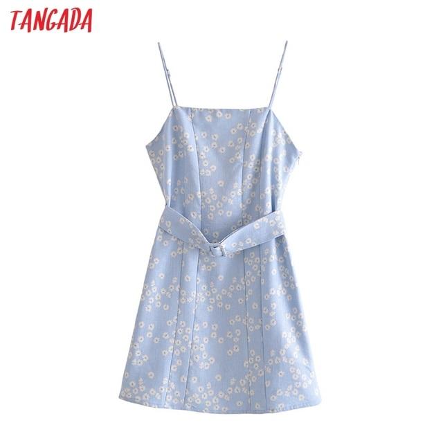 Tangada 2021 Fashion Women Blue Floral Print Dress with Slash Vintage Sleeveless High Street Ladies Mini Dress 3H441 1
