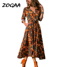 ZOGAA 2019 NEW Summer Long Dress Women Floral Print Maxi Long Dresses Casual Pocket Turn-down Collar Button Shirt Dress Vestidos spring autumn shirt dress women turn down collar full sleeves casual striped button belt dresses mini vestidos s xl 2019