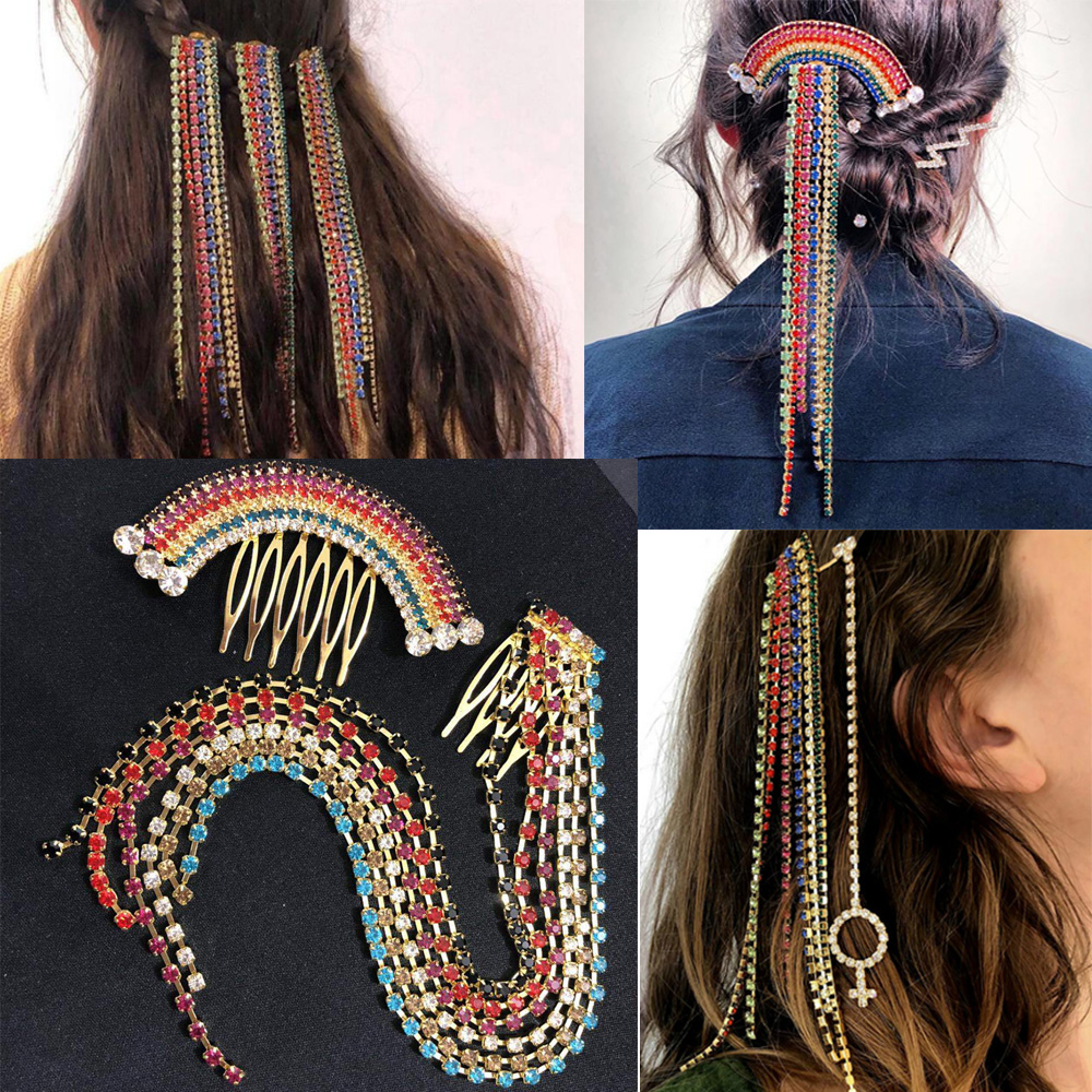 Rainbow Tassel Hair Comb Colorful Crystal Rhinestones Braiding Hairpin Women Chain Hair Extension Clips Hair Accessories