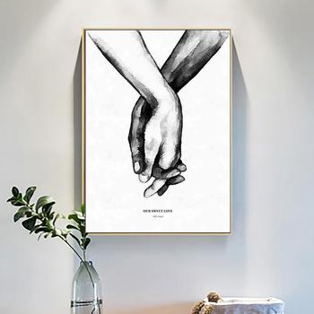 Black White Romantic Hand In Hand Canvas Painting Love Quotes Lovers Room Fashion Picture Art Print Couples Decor Poster Wa E0U0 image