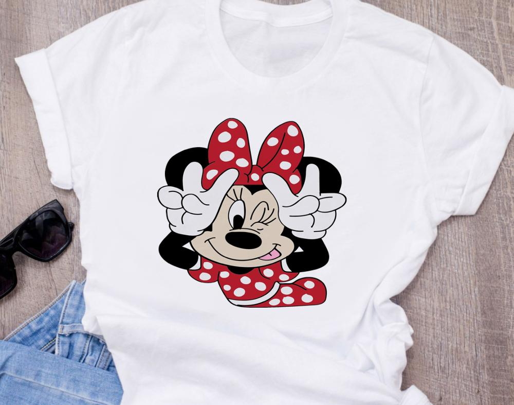Cute Cartoon Disney Fashion Women's T-Shirt High Quality Printed Luxury Disneys T-Shirt