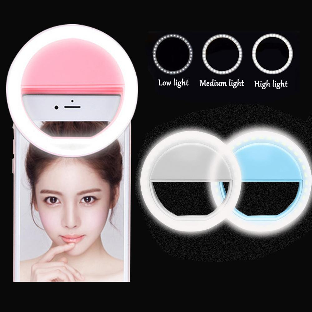 Selfie led anel luz de preenchimento portátil do telefone móvel 36 leds lâmpada selfie 3 níveis iluminação anel luminoso clipe para todos os telefones celulares