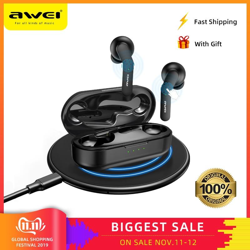 AWEI TWS Bluetooth V5.0 настоящие беспроводные наушники для зарядки с двойным микрофоном шумоподавление HiFi 6D бас игровая гарнитура сенсорное управление Качественные Наушники с микрофоном звук чистый и басс