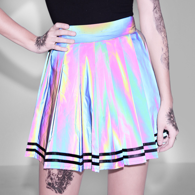 Rainbow Holographic Reflective Mini Skirt Women Gothic High Waist A-Line Pleated Skirts 2019 Party Night Club Skirt For Girl