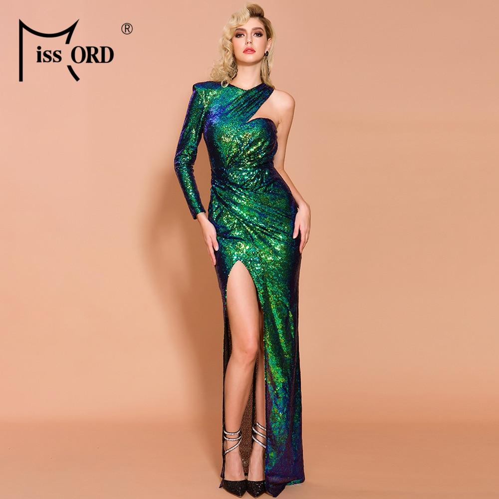 Missord 2019 Women Sexy Deep Irregular Neck  Sequin Dresses Female Backless Gradient High Split Wome Elegant Maxi Dress  FT19646