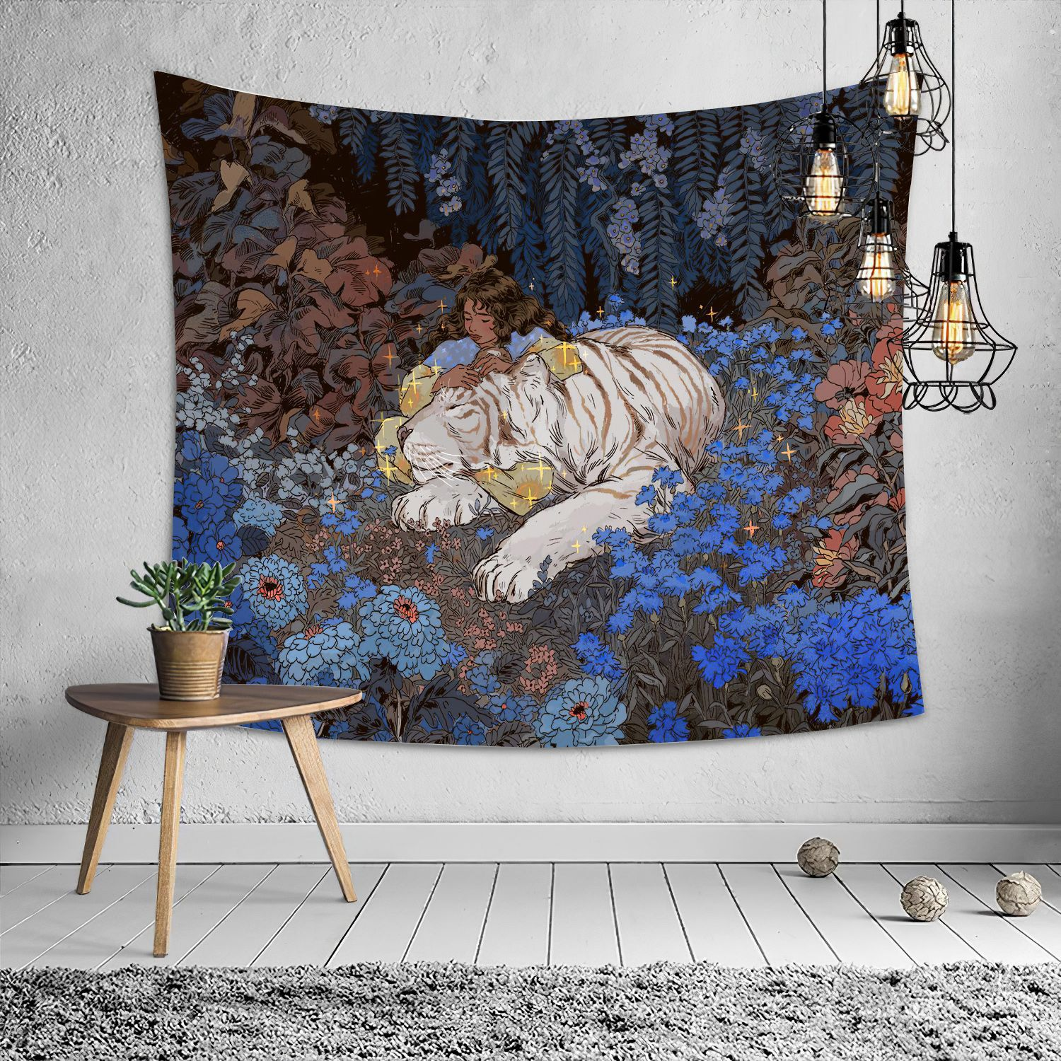 Psychedelic big tapestry girl tiger tapestry boho style tapestry home wall bedroom decoration print blanket