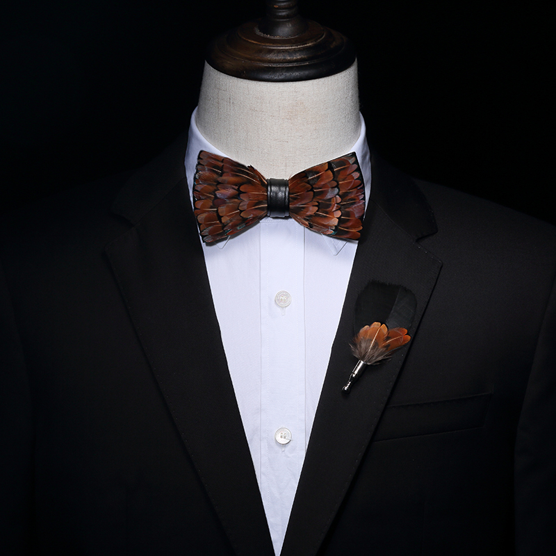 Mens Nature Feather Bow Tie Hand Made for Wedding Party Best Man Business