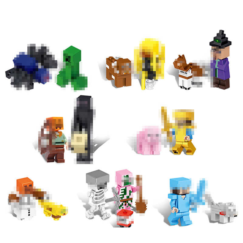 16Pcs My World Buiding Blocks Compatible Legoing Minecrafted Legoings Figures Zombie Blocks Educational Toys For Children
