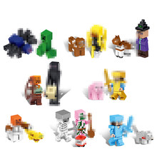 16Pcs Il Mio Mondo Buiding Blocks Compatibile Legoing Minecrafted Legoings Figure Zombie Blocchi di Giocattoli Educativi Per I Bambini(China)