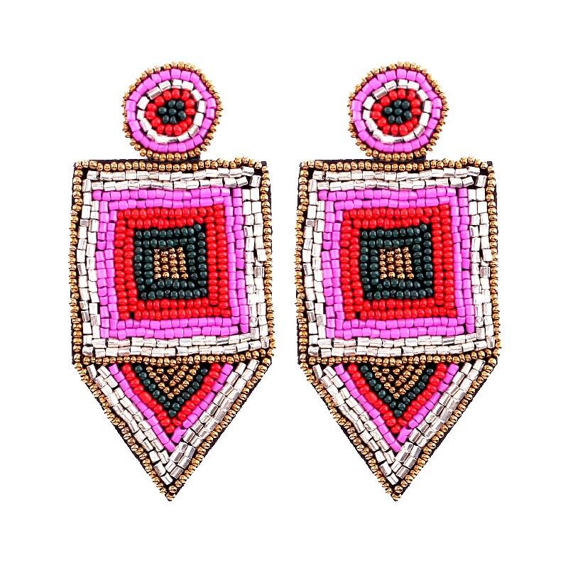 Bohemian Red Beads Tassel Earrings for Women Big Fringe Drop Earrings Long Dangle Earrings Wedding Jewelry Wholesale a