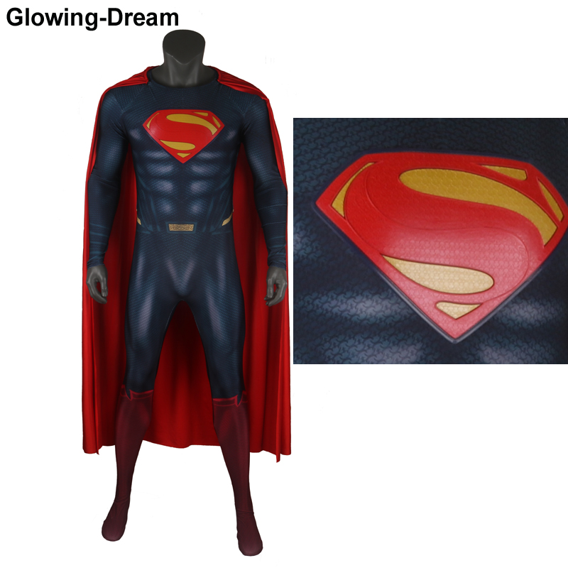 Glowing-Dream High Quality Muscle Shade Superman Cosplay Costume With Relif Logo U Zipper Superman Outfit