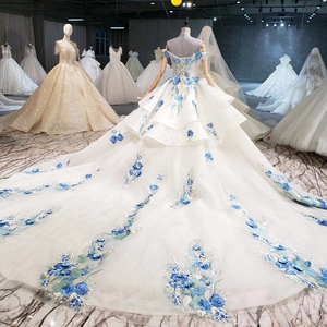 Image 2 - BGW HT41327 Cheap Wedding Dress Blue Flowers Off Shoulder Sweetheart Bead Wedding Gowns With Tail Vestidos De Noiva Plus Size