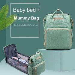 Mochila plegable portátil para bebé, cama multifuncional, madre y bebé bolsa para, bolsa portátil de gran capacidad # ZER