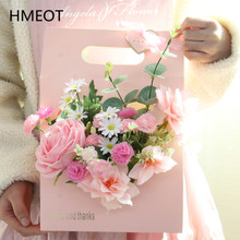 Creative Portable Gift Bag+Artificial Flower Rose Bouquet Valentine's Day Mother's Gift Box Home Decor Wedding Table Ornaments