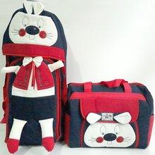 Rabbit Embossed Red Laci 2'li Carry Set