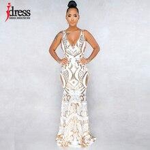 IDress Прямая поставка от поставщиков женское вечернее платье макси крест сзади правильной геометрической формы, с блестками облегающее Элегантное летнее длинное платье