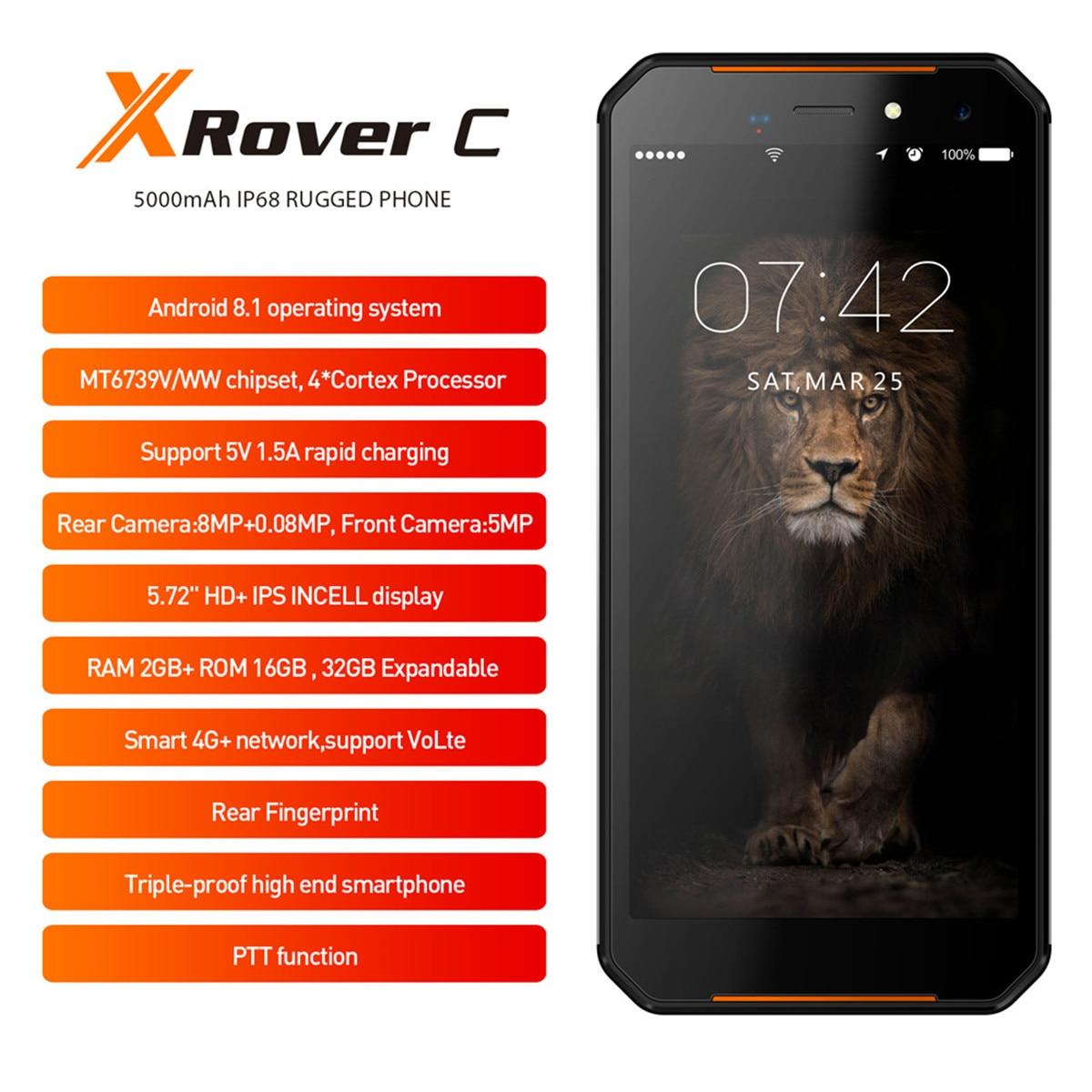 "LEAGOO XRover C IP68 4G Smartphone 16GB ROM 2GB Waterproof Fingerprint Face 5.72"" IPS 5000mAh 13MP Dual Rear Cams Mobile Phone"