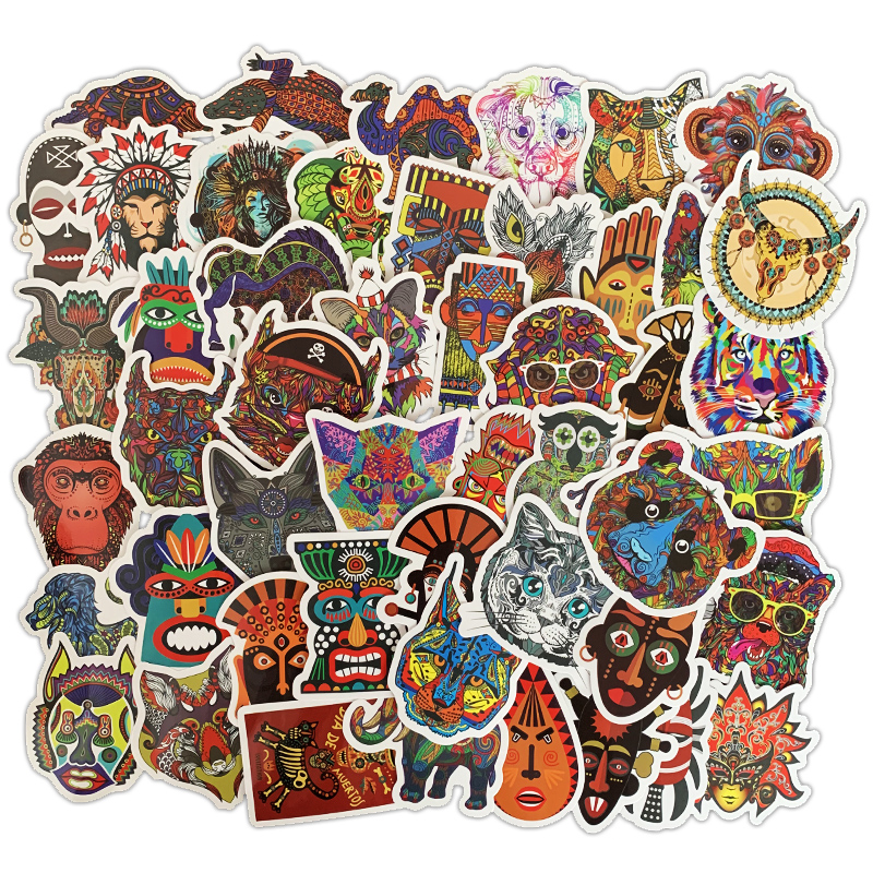 50PCS Ethnic Style Animal Cool Stickers Waterproof DIY Doodle Motorcycle Stickers Car Luggage Laptop Bike Scooter Bathroom Guita