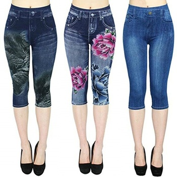 Summer Women Fashion Leggings High Waist Leggings Floral Printed 3/4 Jeggings Elastic Capri Jeggings Plus Size S-3XL 1