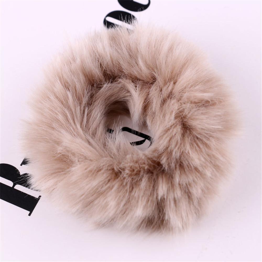 Мягкая Плюшевая повязка для волос резинки для волос натуральный мех кроличья шерсть мягкие эластичные резинки для волос для девочек однотонный цветной хвост резинки для волос для женщин - Цвет: 35