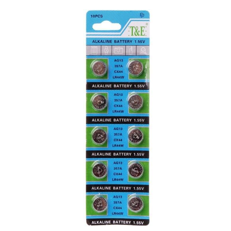 10 шт. AG13 A76 LR44 357A S76E G13 кнопочные батарейки в форме монеты 1,55 в щелочные батарейки L41E