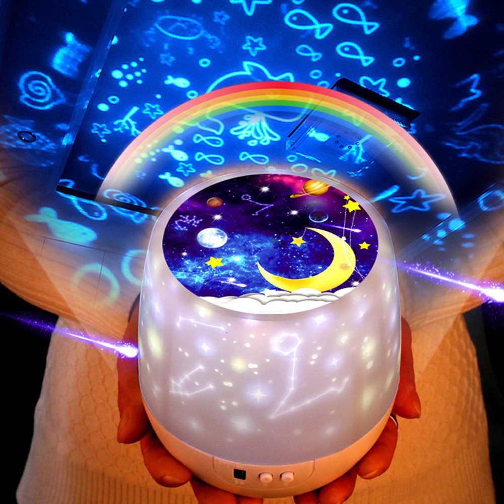 Colorido cielo estrellado proyector noche luz rotación Luna estrellada noche Lámpara USB carga para regalo de cumpleaños romántico bebé niños