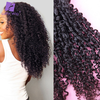 Tight Afro Kinky Curly Hair Bundles 3pcs/lot Mongolian Remy Human Hair Weave Extensions Natural Black Color For Women Luffy