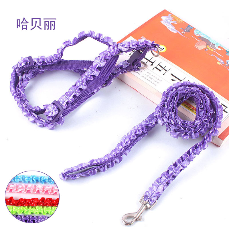 Fashion Cute Puppy Hand Holding Rope Flounced Lace Chest And Back With Traction Set Dog Chest And Back Dog Chain