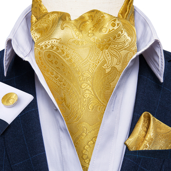 Men Vintage Ascot Tie Luxury Gold Paisley Floral Wedding Party Silk Cravat Necktie Pocket Square Cufflinks 3pcs Set DiBanGu