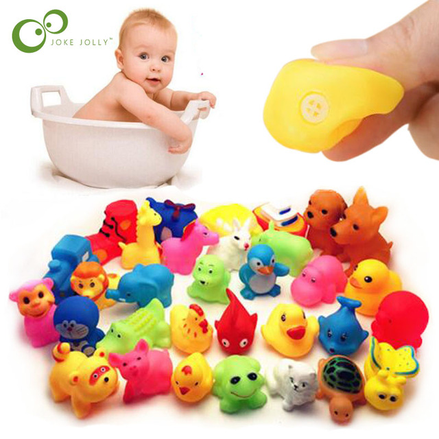 $ US $2.09 13 Pcs Cute Animals Swimming Water Toys Colorful Soft Rubber Float Squeeze Sound Squeaky Bathing Toy For Baby Bath Toys GYH