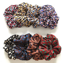 Vintage Rhombic Square Print Elastic Scrunchie Hair Rope Ties Ponytail Hair Ring Women Girls Fashion Hairbands Hair Accessories(China)