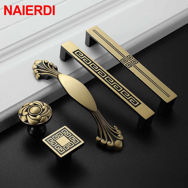 NAIERDI ทองแดงบริสุทธิ์ห้องครัวตู้จับตู้ประตูดึงลิ้นชัก VINTAGE VINTAGE ทองเหลือง Bronze เฟอร์นิเจอร์