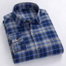Cotton Flannel Shirt Men Spring Autumn Plaid Long Sleeve Edition Casual Middle-aged Plus Size